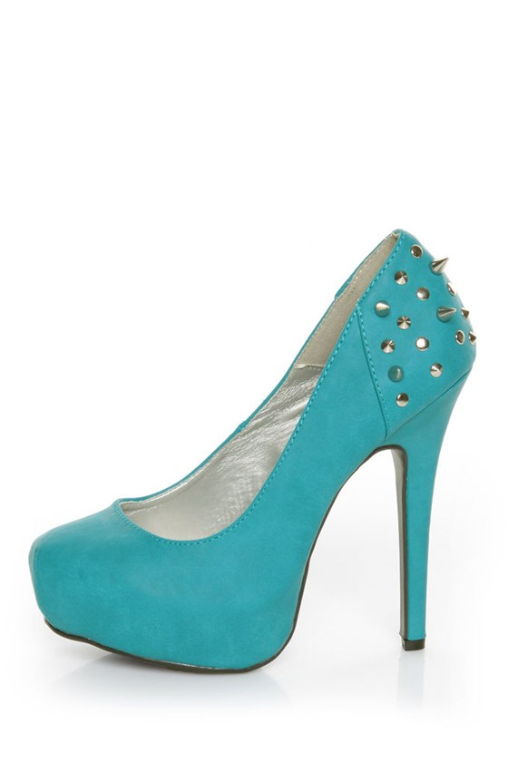 Shoe Republic LA Volta Turquoise Spikes and Studs Platform Pumps