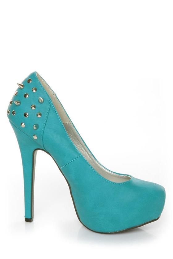 Shoe Republic LA Volta Turquoise Spikes and Studs Platform Pumps