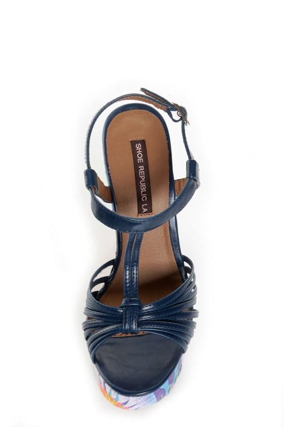 Shoe Republic LA Chic Blue Strappy T Strap Platform Heels