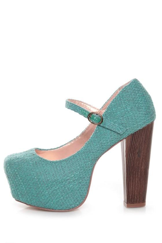 Shoe Republic LA Grand Blue Tweed Mary Jane Platform Heels