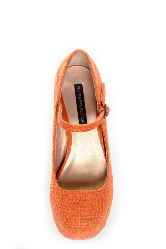 Shoe Republic LA Grand Orange Tweed Mary Jane Platform Heels