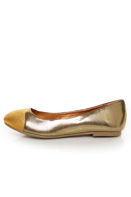 Shoe Republic LA Massimo Bronze Rhinestone Cap-Toe Ballet Flats