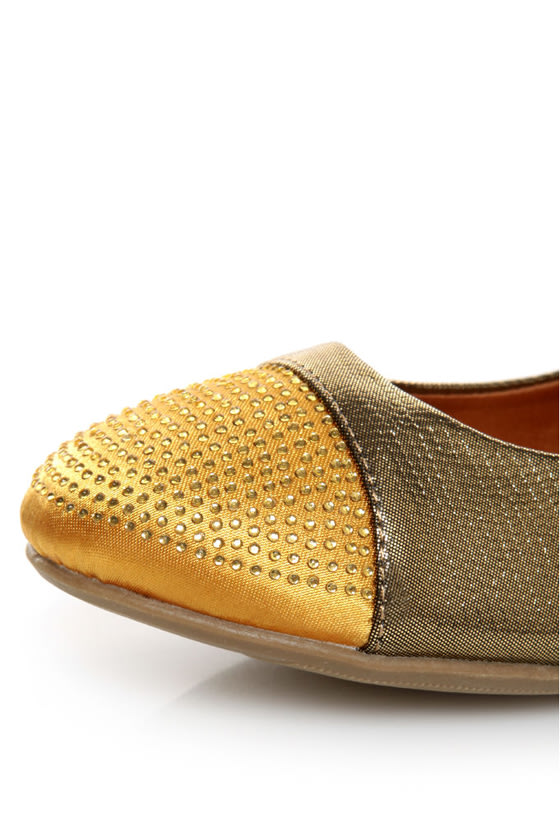 Shoe Republic LA Massimo Bronze Rhinestone Cap-Toe Ballet Flats at Lulus.com!