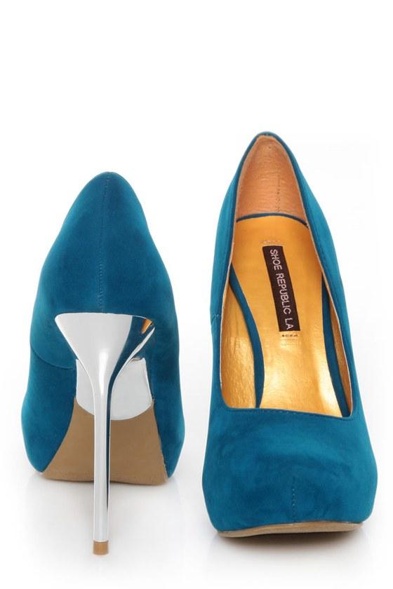 Shoe Republic LA Melody Teal Silver Stiletto Pumps at Lulus.com!