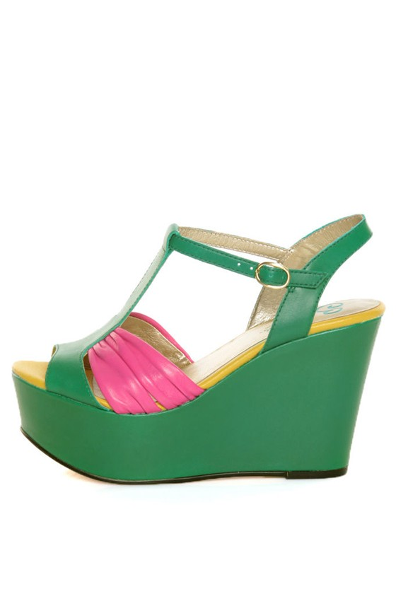 Seychelles You'll Never Know Emerald Color Block Wedge Sandals at Lulus.com!