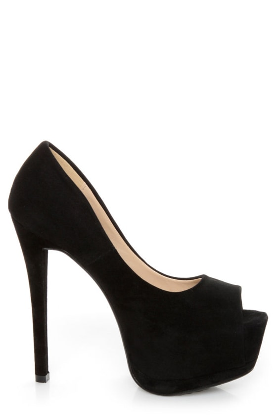 Speed Limit 98 Giant Black Peep Toe Platform Pumps at Lulus.com!
