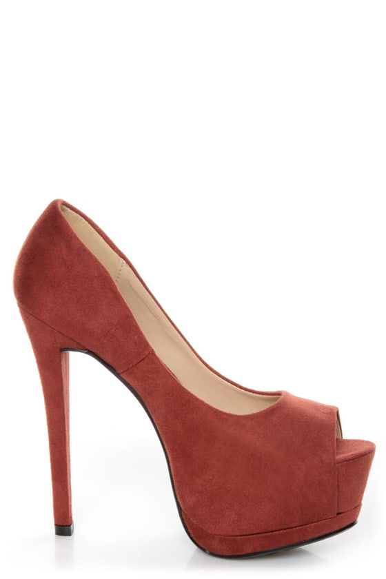 Speed Limit 98 Giant Rust Peep Toe Platform Pumps at Lulus.com!