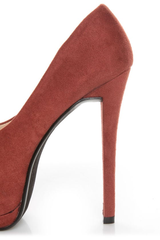 Speed Limit 98 Giant Rust Peep Toe Platform Pumps