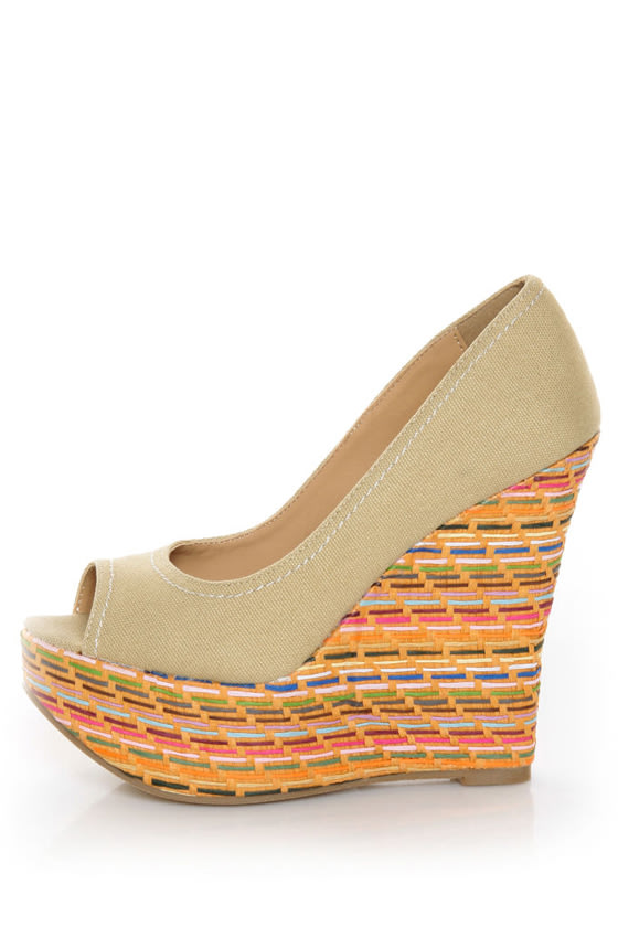 Speed Limit 98 Paco Beige Cotton Woven Wedges
