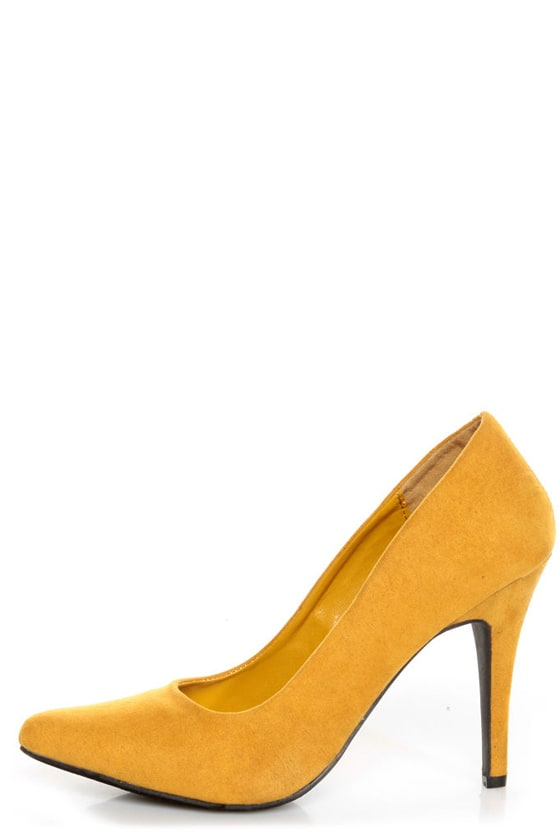 1b2d3e31a92 CR-01 Mustard Yellow Velvet Pointed Pumps -  32.00