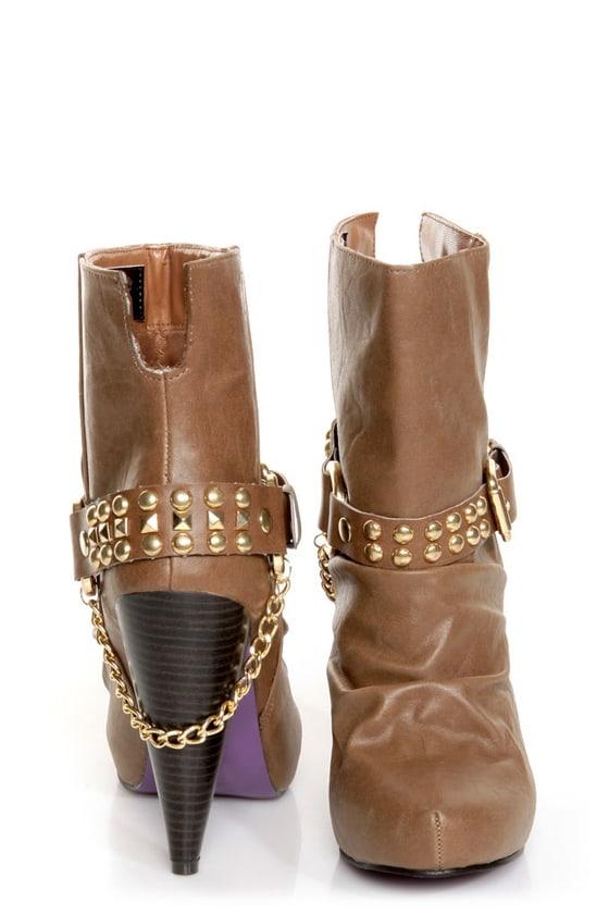 Maquis 02 Chestnut Brown Heel Harness High Heel Boots at Lulus.com!