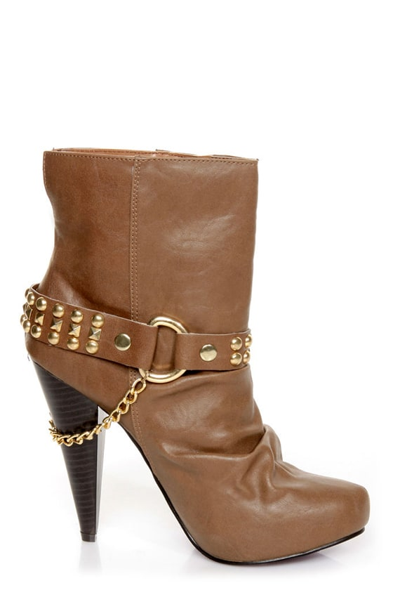 Maquis 02 Chestnut Brown Heel Harness High Heel Boots