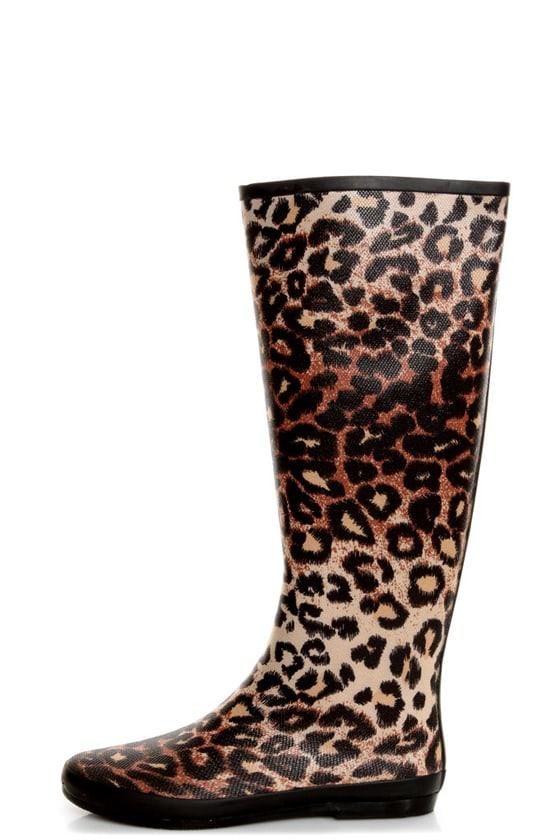 Volatile Raindrop Leopard Tan Animal Print Rain Boots - $65.00