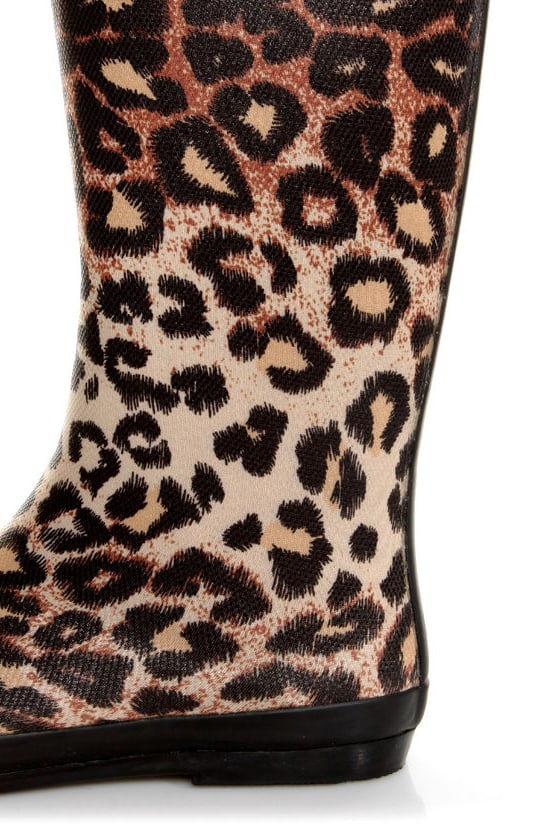 Raindrop Leopard Tan Animal Print Rain Boots