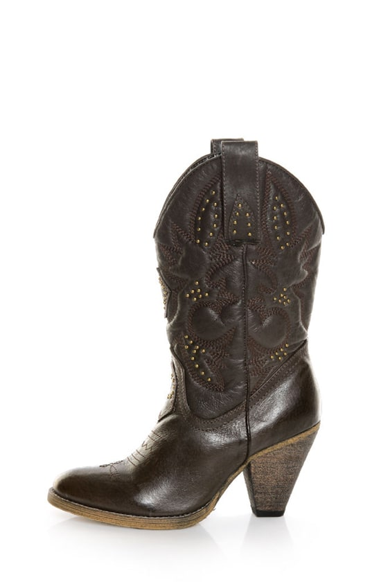 fd636dc4736 Very Volatile Boulder Brown Embroidered Leather Cowboy Boots