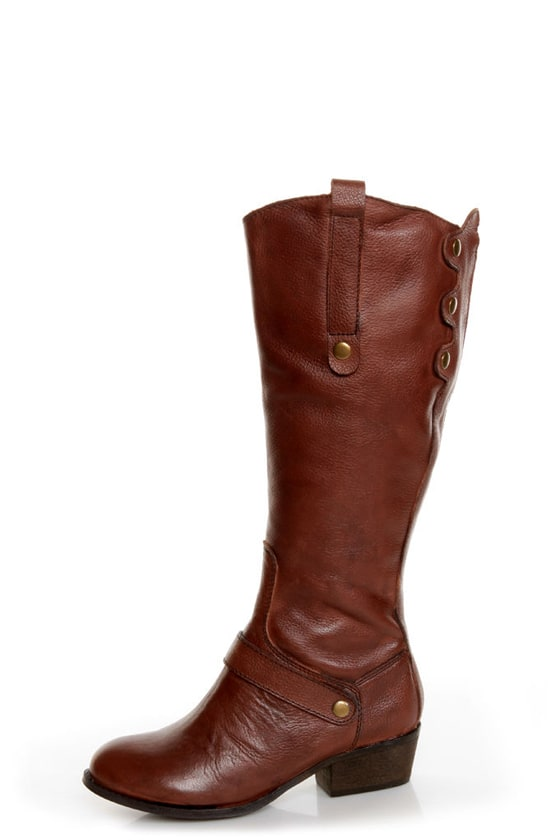 Very Volatile Bourbon Brown Knee High Riding Boots