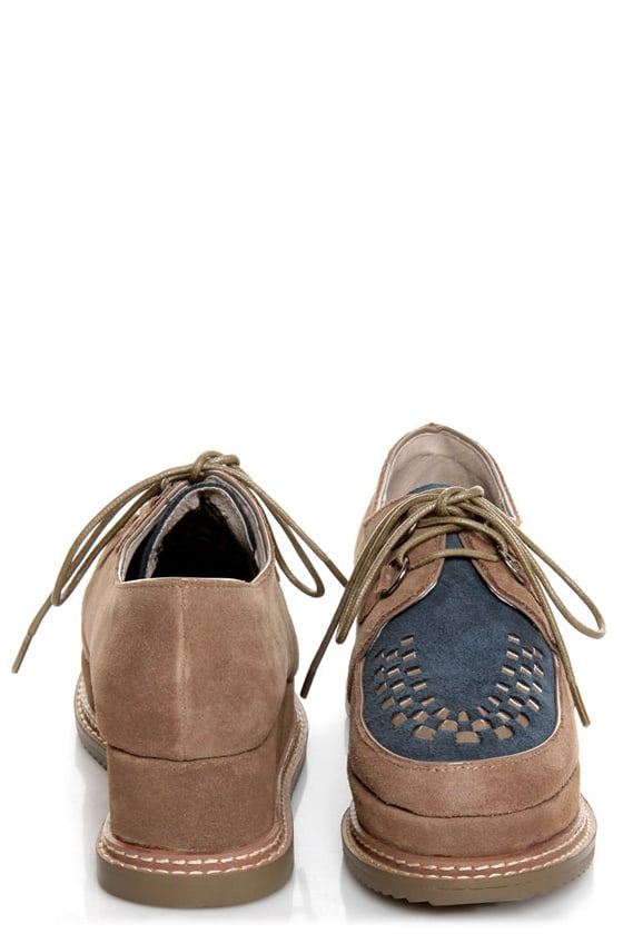 Very Volatile Detour Taupe Suede Lace-Up Creeper Platforms at Lulus.com!