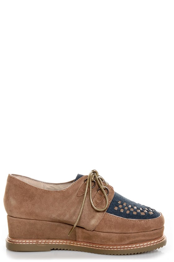 Very Volatile Detour Taupe Suede Lace-Up Creeper Platforms