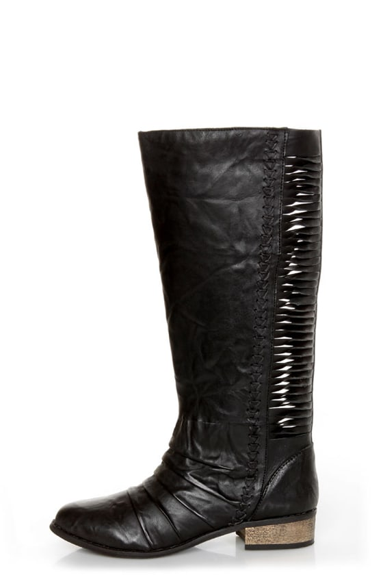 Very Volatile Fringe Black Ruched and Shredded Riding Boots