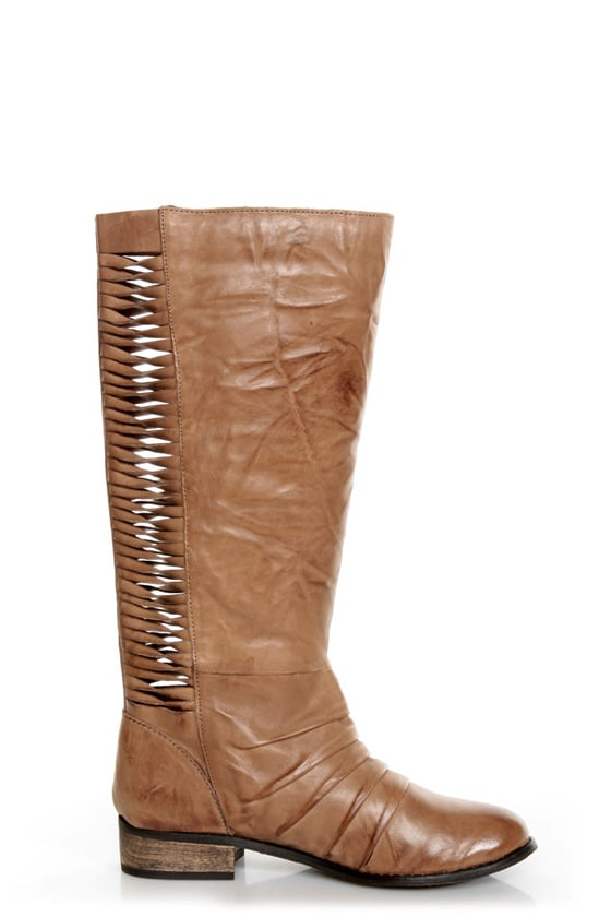 Very Volatile Fringe Taupe Ruched and Shredded Riding Boots at Lulus.com!