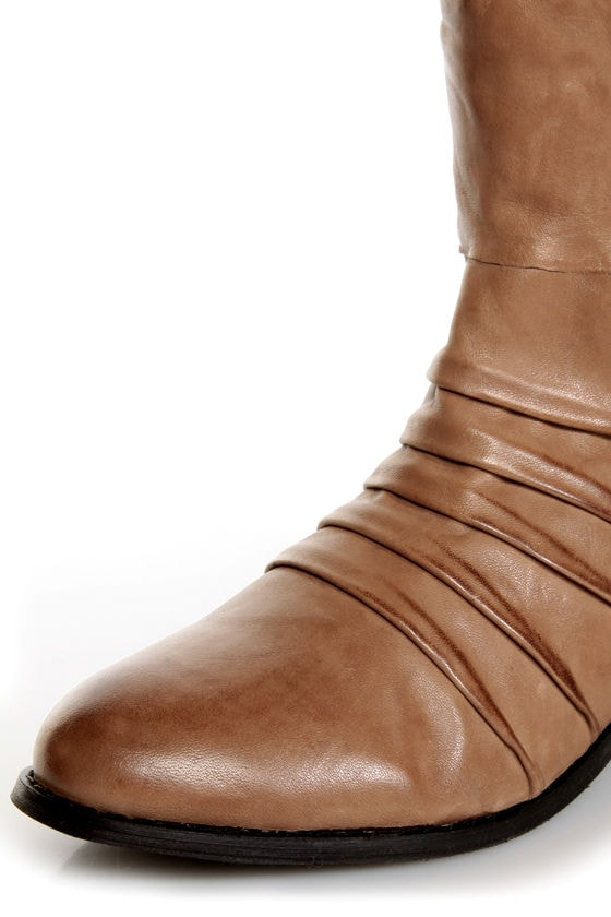 Very Volatile Fringe Taupe Ruched and Shredded Riding Boots