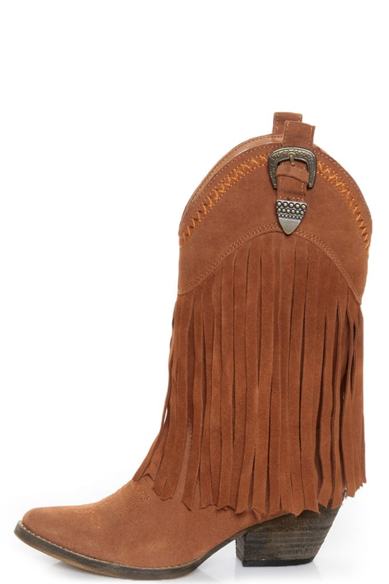 Very Volatile Hillside Tan Fringe Leather Cowboy Boots - $121.00