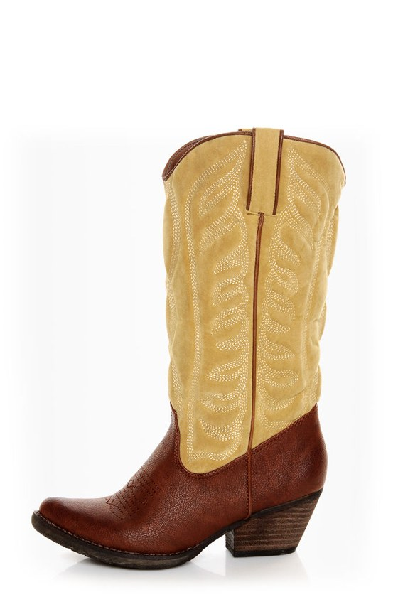f6854056010 Very Volatile Ingrain Brown Two-Tone Embroidered Cowboy Boots