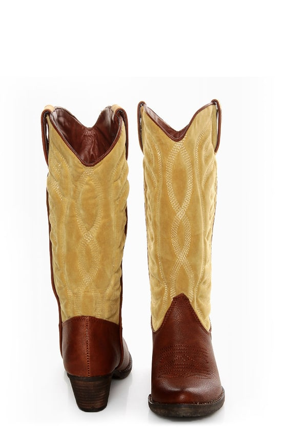 80fd4138189 Very Volatile Ingrain Brown Two-Tone Embroidered Cowboy Boots