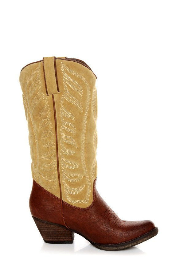 Very Volatile Ingrain Brown Two-Tone Embroidered Cowboy Boots