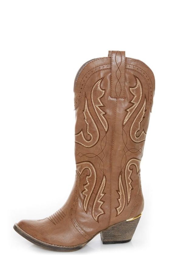 436e07def29 Very Volatile Raspy Taupe Embroidered Cowboy Boots