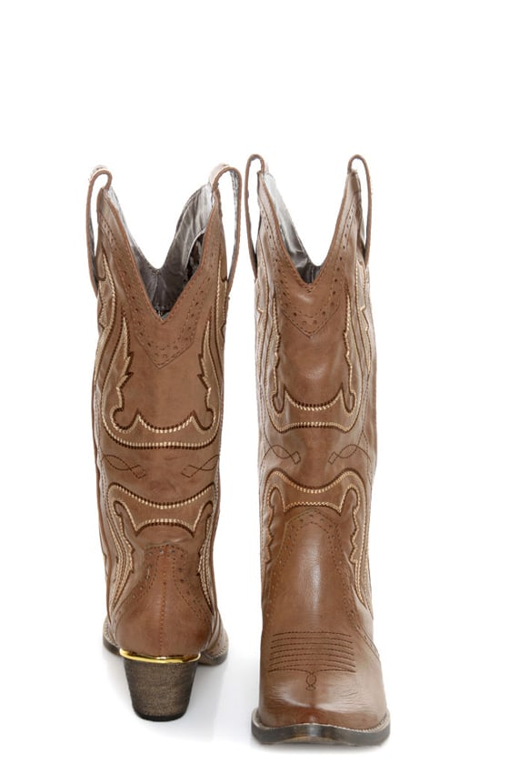 Very Volatile Raspy Taupe Embroidered Cowboy Boots at Lulus.com!