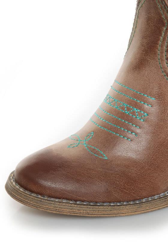 Very Volatile Rio Grande Tan & Teal Embroidered Cowboy Boots