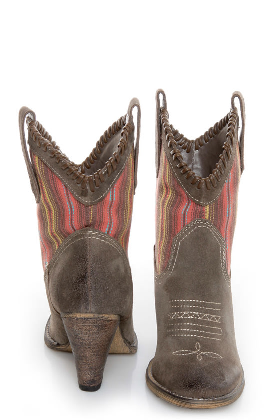 Very Volatile Silverton Taupe Striped Mid-Calf Cowboy Boots at Lulus.com!