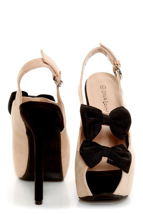 Diva Lounge Felina 22 Black and Blush Bow Time Slingback Heels