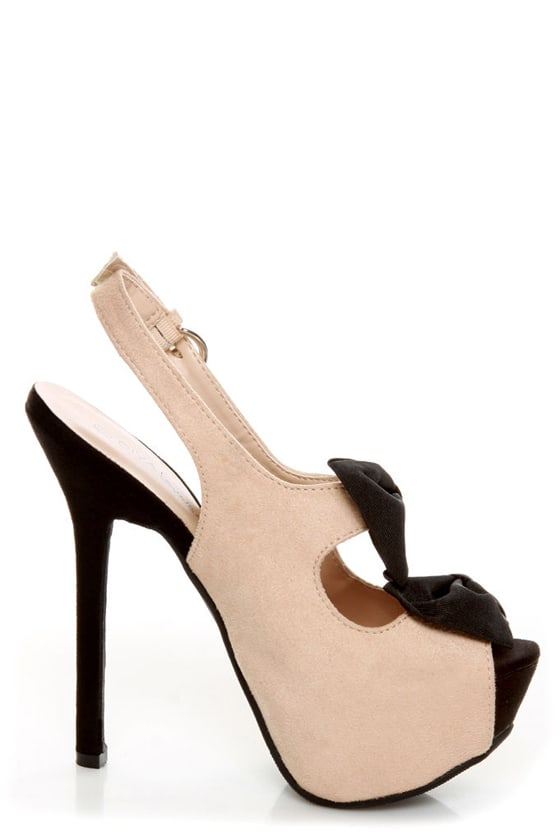 Diva Lounge Felina 22 Black and Blush Bow Time Slingback Heels at Lulus.com!