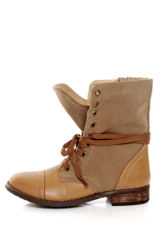Wanted Forge Tan Two Tone Lace-Up Ankle Boots