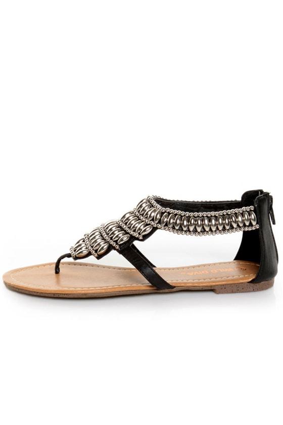 Wild Diva Giselle 01 Black Beaded Thong Sandals