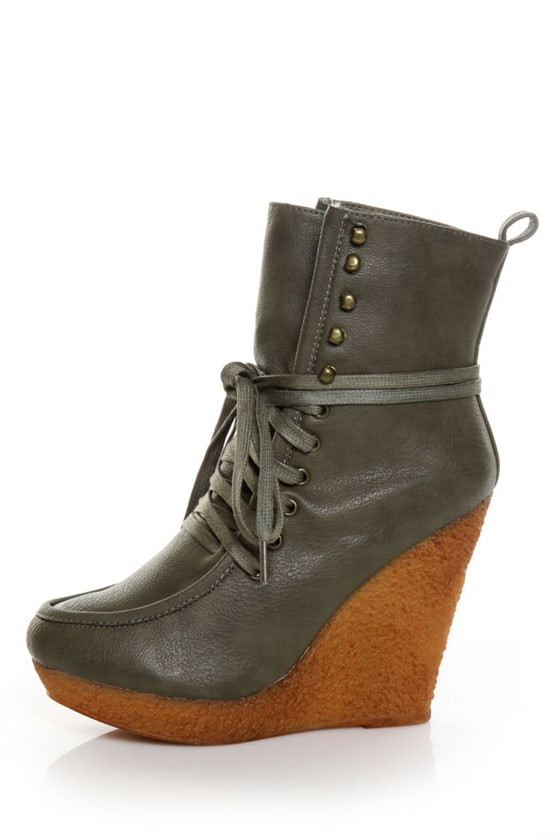 Wild Diva Jayma 01A Olive Lace-Up Wedge Ankle Booties