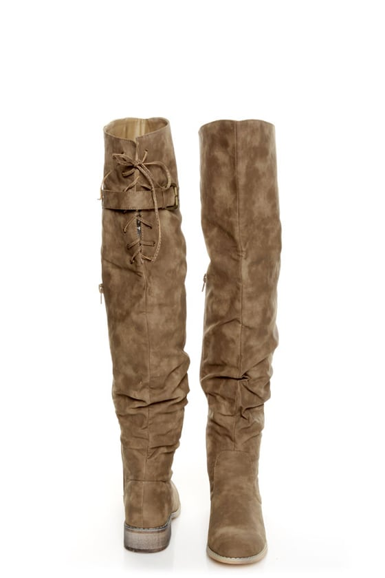 Diva Lounge Kiora 01 Taupe Slouchy Over-The-Knee Boots at Lulus.com!
