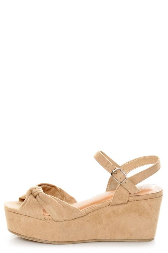 Diva Lounge Manning 01 Natural Venus Suede Flat Platform Sandals