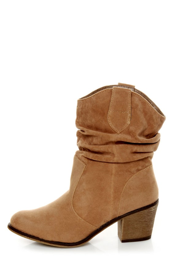 Diva Lounge Miles 03 Tan Velvet Slouchy Ankle Boots - $35.00