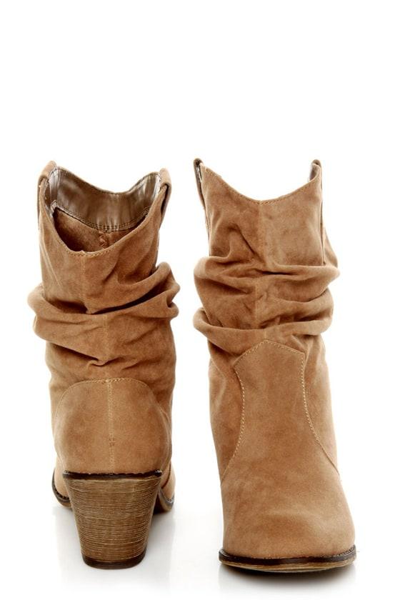 Diva Lounge Miles 03 Tan Velvet Slouchy Ankle Boots