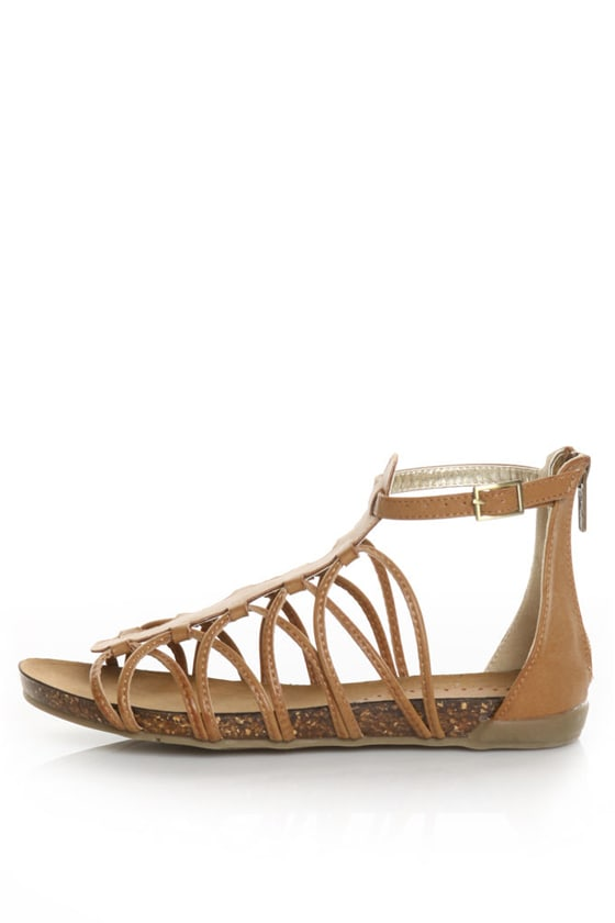 Wanted Next Tan Loopy Ankle Strap Sandals