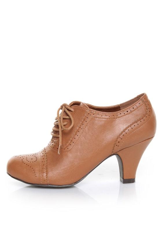 Wild Diva Reva 78 Whisky Lace-Up Oxford Heels