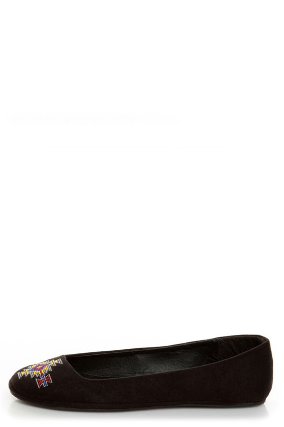 Diva Lounge Sweety 122 Black Southwest Embroidered Ballet Flats