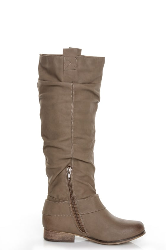 Yoki Axxle Beige Slouchy Riding Boots at Lulus.com!