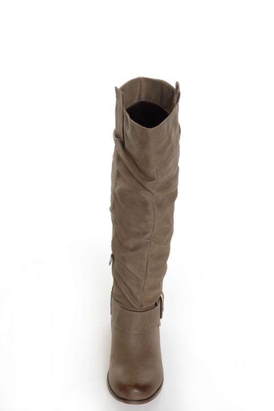 Yoki Axxle Beige Slouchy Riding Boots