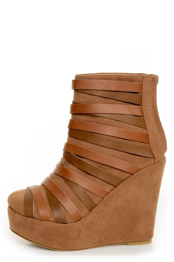 Yoki Campbell Rust Tan Strappy Wedge Ankle Booties at Lulus.com!