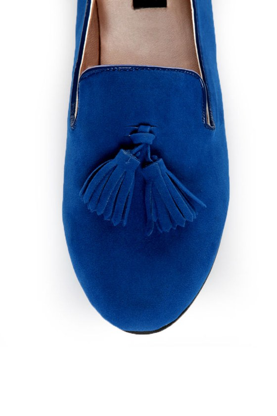 Yoki Frida Blue Tassel Smoking Slipper Flats