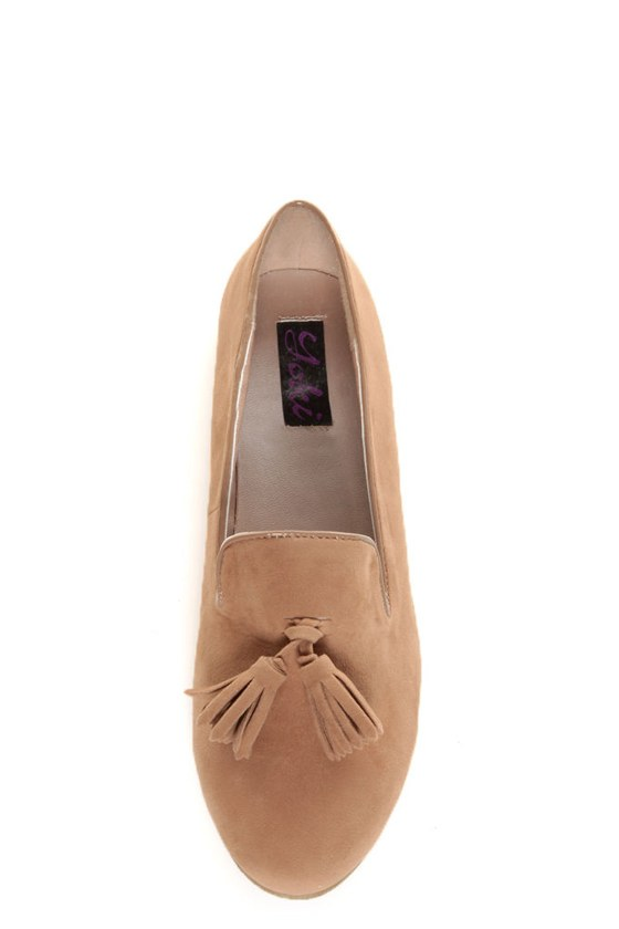 Yoki Frida Camel Tassel Smoking Slipper Flats at Lulus.com!